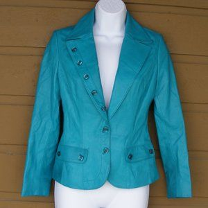 MARCIANO Leather Jacket, XS, Teal, Buttons